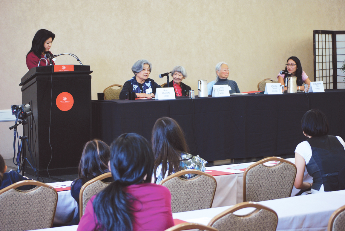 NIKKEI ON CAMP — Jana Katsuyama led a panel discussion about internment with four generations of Japanese American women: Issei Ruth Okimoto, Nisei Chizu Iiyama, Sansei Chizu Omori, and Yonsei Cindy Sakai Kim (from left to right). photos courtesy of Cherry Blossom Alumnae
