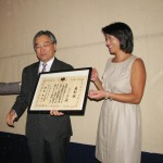 HAPPY ANNIVERSARY — J-Sei Board President Bruce Hironaka (L) and J-Sei Executive Director Diane Wong receive a commendation from Consul General of Japan in San Francisco Hiroshi Inomata at the organization's 40th anniversary celebration on Sept. 10.  photo by Kenji G. Taguma/Nichi Bei Weekly
