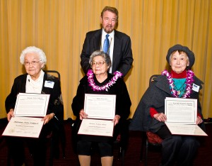 HONORARY DEGREE RECIPIENTS — (From left to right): Hatsune (Arita) Fukuchi, Helen (Nitta) Hori and Kaya Ruth (Kitagawa) Sugiyama. Standing behind them is San Francisco State University President Robert A. Corrigan