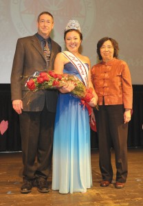 TALK OF JAPANTOWN — Kelly Yuka Walton (center) stands with her father, David Walton, and mother, Machiko Nakatani after being crowned queen.
