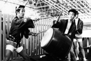 PIONEERS OF TAIKO ­— Taiko gained a foothold in the United States in the 1960s. The first group to form was the San Francisco Taiko Dojo (left), with (left to right) Grand Master Seiichi Tanaka and Nosuke Akiyama (circa 1968).  photo courtesy of San Francisco Taiko Dojo