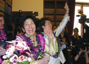 AFFIRMATION OF EQUALITY AND HUMANITY — Lia Shigemura (left) and Helen Zia married in San Francisco June 17, 2008 after a ban on same-sex marriage was lifted by the California Supreme Court. courtesy of Lia Shigemura