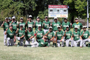 ONE FOR THE 'MAUCH' — The California State AA Japanese American Baseball champions, the Lodi JACL Templars, at the field named after their longtime leader, the late Mauch Yamashita, in Lodi. photo courtesy of Mike Furutani