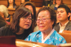 "Yong Soo Lee, 87, a ""comfort woman"" survivor who came from Seoul, at the Sept. 17 San Francisco Board of Supervisors subcommittee meeting at San Francisco City Hall. photo by Tomo Hirai/Nichi Bei Weekly"