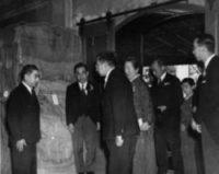 Nichi Bei Times founder Shichinosuke Asano presenting postwar relief goods to Emperor Hirohito.Web