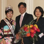 WELCOME — The 2010 Northern California Cherry Blossom Festival Queen Arissa Hiroi, Consul General of Japan Hiroshi Inomata and his wife, Midori, at a dinner celebration held Oct. 22 at Hotel Kabuki in San Francisco's Japantown. photo by Kenji G. Taguma/Nichi Bei Weekly