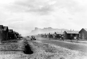 A view of Castle Rock from a firebreak road in the Tule Lake Segregation Center. courtesy of Densho