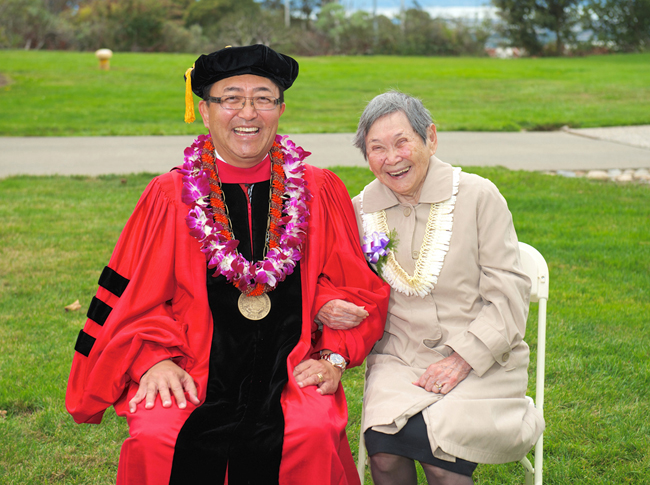 A JOYOUS OCCASION — Leroy M. Morishita with his mother Dora Morishita after the investiture at California State University, East Bay on Oct. 12. photo by Stephanie Secrest