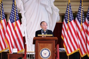 A PATRIOT — Sen. Daniel Inouye speaks at the Congressional Gold Medal ceremony, Nov. 2, 2011 in Washington, D.C. Kyodo News photo