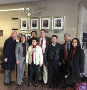 Supporters gather after the State Personnel Board meeting Jan. 10. (From left to right): Dean Lan (APSEA), Fumie Shimada (Florin JACL), Miko Sawamura (National/Sacramento JACL), Lorna Fong (resolution leader), Marielle Tsukamoto (Florin JACL), David Unruhe (NCWNP JACL), Dan Tokutomi (APSEA), Andy Noguchi (Florin JACL) and Helen Fong (APSEA). Not pictured: Maeley Tom (State Personnel Board).