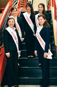 The 2013 Queen Candidates for the Northern California Cherry Blossom Festival. Clockwise from bottom left: Kelly Yuka Walton, Kimberly Miya Sasaki, Michiko Marie Maggi, Tiffany Sieu Okimura and Jamie Sachiko Martyn. photo by William Lee