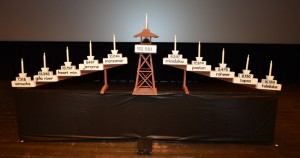 The candle holder used to remember the Nikkei incarcerated during World War II at the Bay Area Day of Remembrance.photo by William Lee