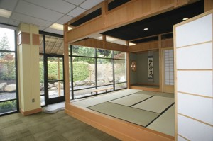 PEACE AND TRANQUILTY — The CSUS tea room is in the lower level of the university's library. The garden features traditional Japanese woodwork. photo courtesy of  CSU Sacramento