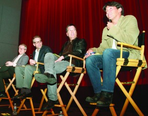 "DISCUSSING 'EMPEROR' — A panel discussion on the U.S. film ""Emperor"" held at the University of California, Los Angeles, on March 4. The film premiered in the United States on March 8 and opens in Japan in July.  Kyodo News photo"