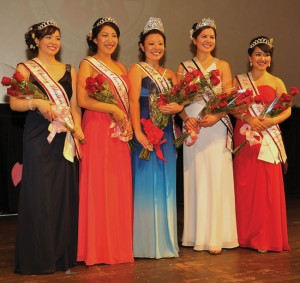 ON THE COVER:Kimberly Miya Sasaki, Tomodachi Award recipient Tiffany Sieu Okimura, Queen Kelly Yuka Walton, First Princess Jamie Sachiko Martyn and Michiko Marie Maggi, at the Northern California Cherry Blossom Queen Program. photo by William Lee