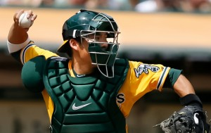 BACK IN THE BAY — Catcher Kurt Suzuki, who signed with the Oakland A's after being College World Series MVP for California State University, Fullerton, returned to the team after a trade. photo by Scott Nakajima/Nakajima Photography