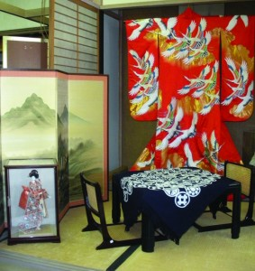 HOME DECOR — A home can be transformed by adding a kotatsu, a Japanese low table with a stove underneath ($450), a zaisu, folding seat ($39.95-plus),  a kimono, shoji screens, or byobu (Japanese folding screens) screens (left). photos courtesy of Arlene Damron