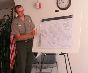MAPPING OUT A PLAN ­— Mike Reynolds, the superintendent of the National Park Service's Tule Lake Unit of the World War II Valor in the Pacific National Monument, pointed out what federal land from Tule Lake was allocated to the unit compared to what once was the Tule Lake Segregation Center. photo by Tomo Hirai/Nichi Bei Weekly