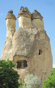 "LOOKING BACK AT TURKISH HISTORY ­— Cappadocia (Left) boasts unique geologic formations that resemble mushrooms or ""fairy chimney houses."" photo by The Kaeru Kid"