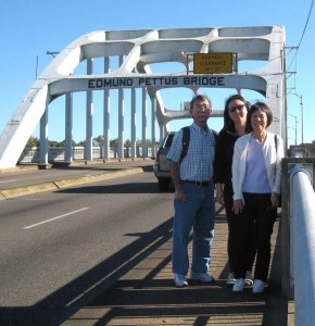 "A BRIDGE TO CIVIL RIGHTS HISTORY — Andy Noguchi, Annie Kim Noguchi and Twila Tomita on the Edmund Pettus Bridge in Selma, Ala., the site of the March 7, 1965 state trooper ""Bloody Sunday"" attack on peaceful voting rights marchers. photo courtesy of Andy Noguchi"