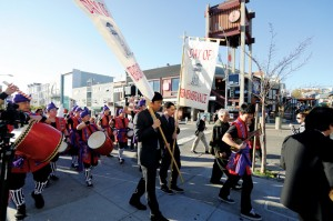 NEVER AGAIN ­— (Above): the procession from the Sundance Kabuki Cinemas to the Japanese Cultural and Community Center of Northern California.  photo by William Lee