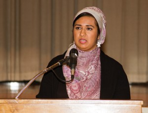 REAFFIRMING CIVIL LIBERTIES ­—  Sara Jaka of the South Bay Islamic Association speaks about the persecution Muslims face in post-9/11 America. photo by Andy Frazer