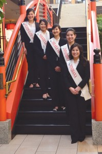The 2014 Northern California Cherry Blossom Festival Queen candidates (from left to right): Kyle Sayaka Fujiki Tana, Saaya Stephanie Sakurai, Alison Kepola Nishiyama, Kristin Mariko Matsumoto and Alessandra Mieko  	Dameshghi. photo by WIlliam Lee. Inset: Takahashi Market located in San Mateo, Calif. photo by Jeff Asai/Nichi Bei Times