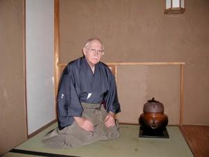A LESS FORMAL TEA SCHOOL — Mushakoji instructor Richard Mellott at Shogetsu-an, Hakone Gardens, Saratoga, in October of 2009. photo courtesy of Richard Mellott