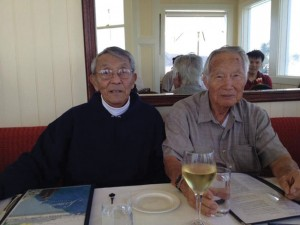 NISEI VETS REUNITE ­— MIS veterans George Goto (left) and Mutsuo Hirose (right) at Scoma's Restaurant see each other for the first time in Sausalito, Calif., after 67 years.