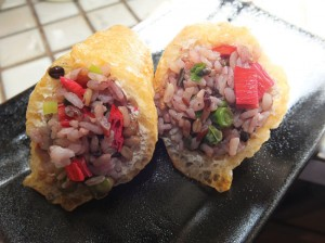 CHAR SIU FRIED RICE— The Gochiso serves up fried rice inarizushi style. by Ryan Tatsumoto