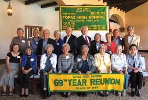 The Topaz High School class of 1945. photo by Robbin Kawabata