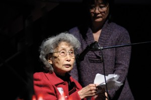 Human rights activist Yuri Kochiyama was awarded the 2010 Clifford I. Uyeda Peace and Humanitarian Award at the annual Bay Area Day of Remembrance, held Feb. 21, 2010 at the Sundance Kabuki Cinemas in San Francisco's Japantown.  photo by Steve Wake