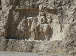 Cliff carving near Darius the Great's tomb.  photo by The Kaeru Kid