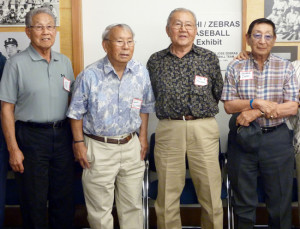 JAPANESE AMERICANS RECALL 'INTER-CAMP' BASEBALL LEAGUE — Former detainees at Japanese American concentration camps during World War II who were involved in the 1944 baseball games among teams from the camps — Ernie Inoue, Kenso Zenimura, Tetsuo Furukawa and George Iseri (from L) — are reunited in 2014.  Kyodo News photo