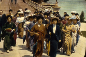 Picture brides and other immigrants walking onto Angel Island. Picture brides photo courtesy of California State Parks,