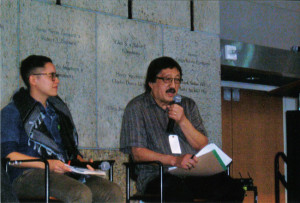 INTERSECTION OF ACTIVISM PAST AND PRESENT — The 2015 Day of Remembrance program at the Japanese American National Museum in Los Angeles' Little Tokyo featured a discussion with (left; L to R) Rey Fukuda of the East L.A. Community Corporation and Mike Murase of the Little Tokyo Service Center. photo by Takeshi Nakayama