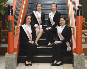 The 2015 Northern California Cherry Blossom Festival Queen Program candidates. (Clockwise from lower left) Taylor  Keiko-Lehua Davis, Karine Brenda Worley, Kelli Asako Sum and Nina Marie Myers. photo by William Lee