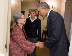Honouliuli National MoNument Signing — (Left): As Interior Secretary Sally Jewell looks on, President Barack Obama greets Jane Kurahara at the doorway of the Oval Office before he signed a proclamation on the establishment of the Honouliuli National Monument, Feb. 24. Kurahara is a retired school librarian who helped rediscover the site of the Honouliuli internment camp  in 2002. White House photo by Pete Souza