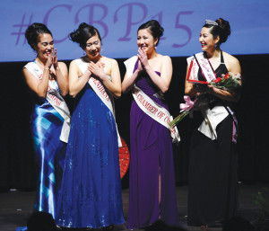 Kelli Asako Sum (second from left) is named the 2015 Northern California Cherry Blossom Queen as (left to right) Taylor Keiko-Lehua Davis, Karine Brenda Worley and First Princess Nina Marie Meyers look on. photo by William Lee