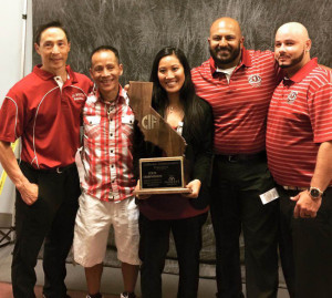 THE TEAM BEHIND THE TEAM — Coaches of McClatchy High School's Varsity Women's team. Left to right: assisstant coaches Jeff Ota and Que Ngo, head coach Jessica Kunisaki, athletic trainer Rohit Sharma, and assistant coach Carlos Vicenty  photo by Denise Tahara