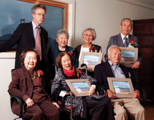 (Clockwise from top left) Lawyer Wayne Merrill Collins, Esq. with Nisei legal support staff to the WWII renunciation cases: Yoshie Handa Yasuda, Eiko Aoki, Sam Nao, Dr. Hisaji Sakai holding the award for the late Jean Kajikawa Sakai, Chiyo Wada and Florence Dobashi. Collins' father, Wayne Mortimer Collins, fought the U.S. government to restore American citizenship to some 5,000 Japanese Americans after the war. photo by Leland Wong Photography