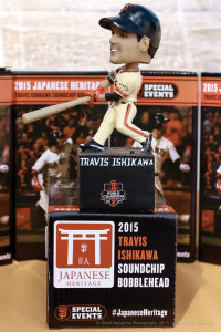 HISTORIC HOMERUN — Travis Ishikawa's walk-off homerun captured in a bobblehead. photo by Scott Nakajima/Nakajima PhotographyNakajima/Nakajima Photography