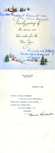 In December 1944, Mary Tsukamoto sent a Christmas card and letter to President Franklin and Eleanor Roosevelt from the internment camp at Jerome, Ark., where she, her family and other Americans of Japanese descent were held during World War II. Eleanor Roosevelt's brief reply arrived the following month. courtesy of Sacramento State University