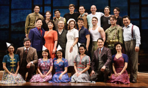 "MUSICAL ON WWII INCARCERATION OF JAPANESE AMERICANS TO OPEN ON BROADWAY — Actor George Takei (3rd from L, 2nd row) and others on the cast of Broadway musical ""Allegiance"" appear on stage at the Longacre Theater in New York on Sept. 29. A preview for the musical, inspired by Takei's own childhood experience in a U.S. concentration camp for Japanese Americans during World War II, began on Oct. 6 ahead of its official opening on Nov. 8. Kyodo News photo ==Kyodo"