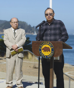 UNCOVERING HISTORY — The second Nikkei Angel Island Pilgrimage honored those who helped in the preservation efforts early on, including Christopher Chow (L) and Paul Chow (represented by son Gary, above). photo by William Lee