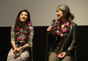 "Tamlyn Tomita and Mari Hatta reflect upon ""Picture Bride."" photo by William Lee"