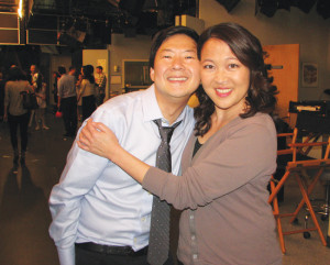 "ON THE SET — Ken Jeong and Suzy Nakamura on the set of ""Dr. Ken"" at Sony Studios. photo by J.K. Yamamoto/Rafu Shimpo"