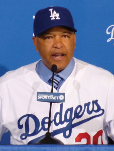New Los Angeles Dodgers manager Dave Roberts speaks at an introductory press conference at Dodger Stadium on Dec. 1, 2015. (Kyodo) ==Kyodo