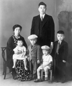FROM HAWAI'I TO MAINLAND DETENTION — Shigeo and Akino Shigenaga and children (far left). photo courtesy of the Shigenaga Family