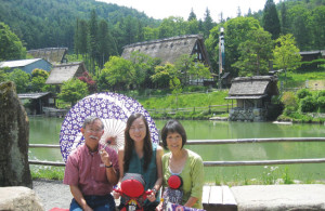 Andy, Annie, and Twila at Hida-Takayama Folk Village. photo courtesy of Andy Noguchi